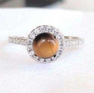 Solid 925 Silver Tiger Eye Ring